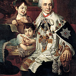Borovikovsky Vladimir - Portrait of Count Grigory Grigorievich Kusheleva with children, 900 Classic russian paintings