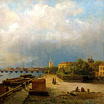 Lagorio Lev - View of the Neva River and the Peter and Paul Fortress, 900 Classic russian paintings