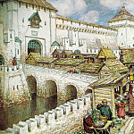 900 Classic russian paintings - Vasnetsov Apollinary - Book shop on the bridge Spassky in the XVII century