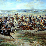 900 Classic russian paintings - Mazurovskii Victor - Attack of the Life Guards regiment at the French cuirassier in the battle of Friedland June 2, 1807