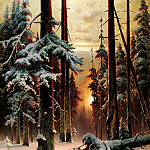Winter sunset in the fir forest, Yuly Klever