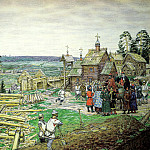 Vasnetsov Apollinary - Founding of Moscow, 900 Classic russian paintings