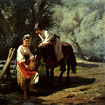 900 Classic russian paintings - Trutovsky Constantine - The scene at the well
