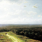 900 Classic russian paintings - Klodt Mikhail (K.) - Forest horizon at noon. 1878