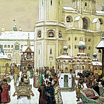 Vasnetsov Apollinaris - Area of Ivan the Great in the Kremlin. XVII century, 900 Classic russian paintings