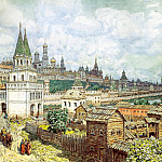 900 Classic russian paintings - Vasnetsov Apollinary - Rise of the Kremlin. Saints Bridge and the Kremlin at the end of XVII century