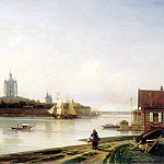 900 Classic russian paintings - Bogolyubov Alexey - Kind of Smolny Convent from the Great Ohta