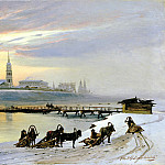 Dobrovolsky, Nikolai - The ferry across the Angara in Irkutsk, 900 Classic russian paintings
