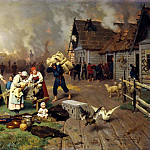 Dmitry-Orenburgsky Nick - Fire in the village, 900 Classic russian paintings