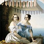 900 Classic russian paintings - Neff Tim - Portrait of Grand Duchesses Maria Nikolaevna and Olga Nikolaevna