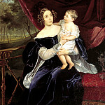 900 Classic russian paintings - BRYULLOV Karl - Portrait of Countess Olga Ivanovna Orlova-Davydova and daughter Natalia. 1834