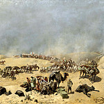 900 Classic russian paintings - Karazin Nick - Khiva expedition of 1873. Go Turkestan detachment through the dead sands to the wells Adam Krylgan