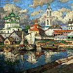 900 Classic russian paintings - Gorbatov Constantine - View of the old town