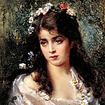 900 Classic russian paintings - MAKOVSKY Constantine - A girl in a suit of Flora