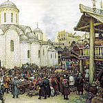 Vasnetsov Apollinary - defense of the city, 900 Classic russian paintings