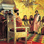 900 Classic russian paintings - Ryabushkin Andrew - Seat Tsar Mikhail Fedorovich to the boyars in his sovereigns room