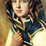 Venetsianov Alex - The girl in a headscarf, 900 Classic russian paintings