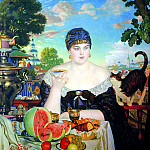 900 Classic russian paintings - Kustodiyev Boris - Merchant at tea