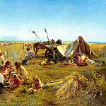 900 Classic russian paintings - MAKOVSKY Constantine - Peasant lunch in the field