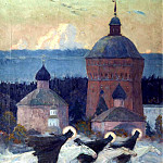 Nesterov Mikhail - Riders, 900 Classic russian paintings