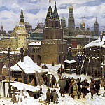 900 Classic russian paintings - Vasnetsov Apollinaris - Saints stone bridge. Moscow end of the XVII century