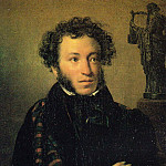 900 Classic russian paintings - Kiprensky Orestes - Portrait of Alexander Pushkin (1827) GTG