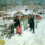 Stepan Kolesnikov - Winter. Outskirts of a village, 900 Classic russian paintings