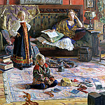 900 Classic russian paintings - Ivan Glazunov - The family of the artist