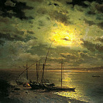 Brick Leo - Moonlit Night on the River, 900 Classic russian paintings