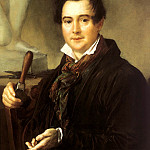 900 Classic russian paintings - Tropinin Vasily - Portrait of the sculptor Ivan Vitali. 1839