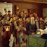 900 Classic russian paintings - Bogdanov-Belsky Nikolai - Sunday reading in rural schools