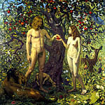 900 Classic russian paintings - Pavel Popov - Adam and Eve. Fall of man