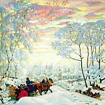 900 Classic russian paintings - Kustodiyev Boris - Winter. 1916