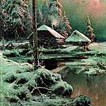 900 Classic russian paintings - Klever Julius - Winter landscape with cottages by the river