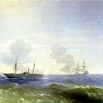 900 Classic russian paintings - Ivan Aivazovsky - Fight steamer Vesta, with the Turkish battleship Vechta-Bulend in the Black Sea July 11, 1877