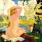 Kustodiyev Boris - Bathing, 900 Classic russian paintings
