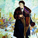 900 Classic russian paintings - Kustodiyev Boris - Portrait of Chaliapin