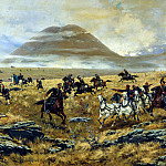 900 Classic russian paintings - KIVSHENKO Alexei - Nizhegorodskiye dragoons pursuing the Turks on the way to Carswe during Aladzhinskogo battle on Oct. 3, 1877
