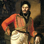 900 Classic russian paintings - Kiprensky Orestes - Portrait of Life Hussar Colonel Yevgraf Vladimirovich Davydov. 1809