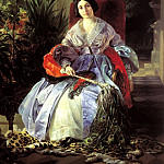 900 Classic russian paintings - BRYULLOV Karl - Portrait of the Most Serene Princess Elizabeth Saltykov. 1841