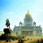 VOROBYEV Maxim - St. Isaacs Cathedral and the monument to Peter I. 1844, 900 Classic russian paintings