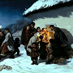 900 Classic russian paintings - Trutovsky Constantine - Christmas Eve in Little
