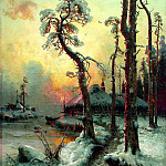 Winter landscape with river and houses, Yuly Klever