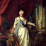 900 Classic russian paintings - Lamps Johann (Sr.) - Portrait of Empress Catherine II with the allegorical figures of the Fortress and Truth. 1790-e