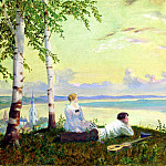 900 Classic russian paintings - Kustodiev Boris - The Volga. 1922