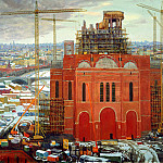 Oksana PAVLOVA - Construction of the Cathedral of Christ the Savior, 900 Classic russian paintings