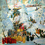 900 Classic russian paintings - Kustodiyev Boris - Epiphany blessing of the waters