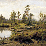 900 Classic russian paintings - Shishkin Ivan - Swamp. The Cranes.
