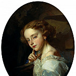 900 Classic russian paintings - MAKAROV Ivan - Portrait of a Girl