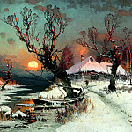 Klever Julius - Sunset in winter, 900 Classic russian paintings